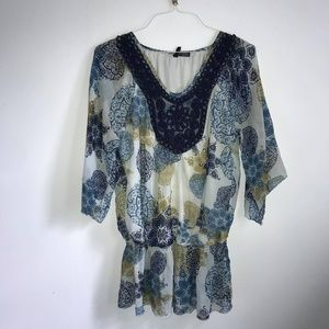 Blue and green pattern blouse